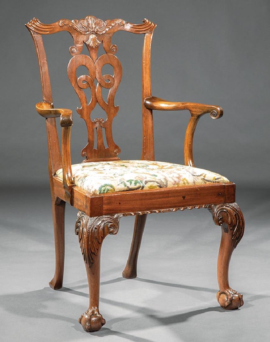 George III-Style Carved Mahogany Armchair
