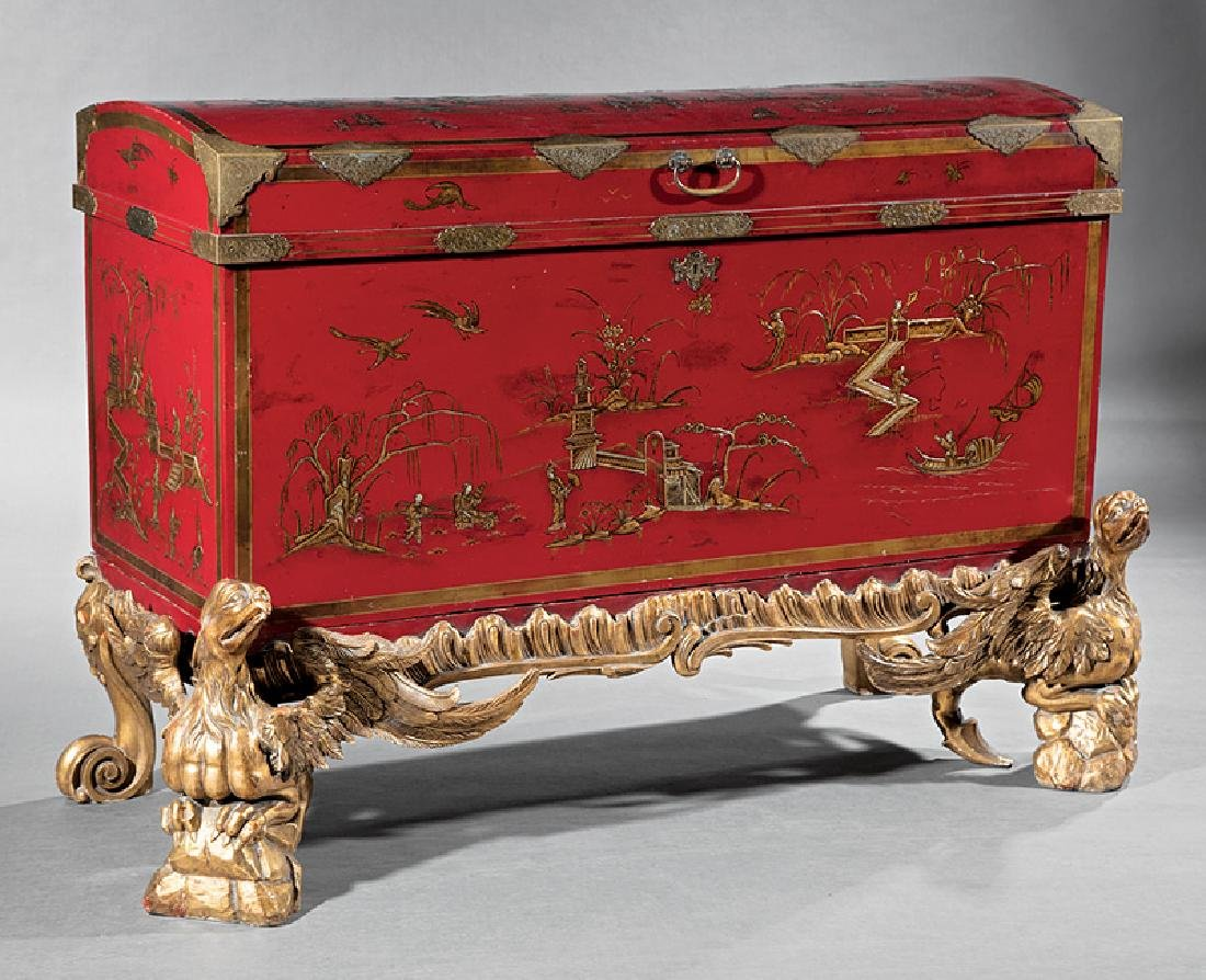 Chinoiserie-Decorated Red Lacquer Chest on Stand