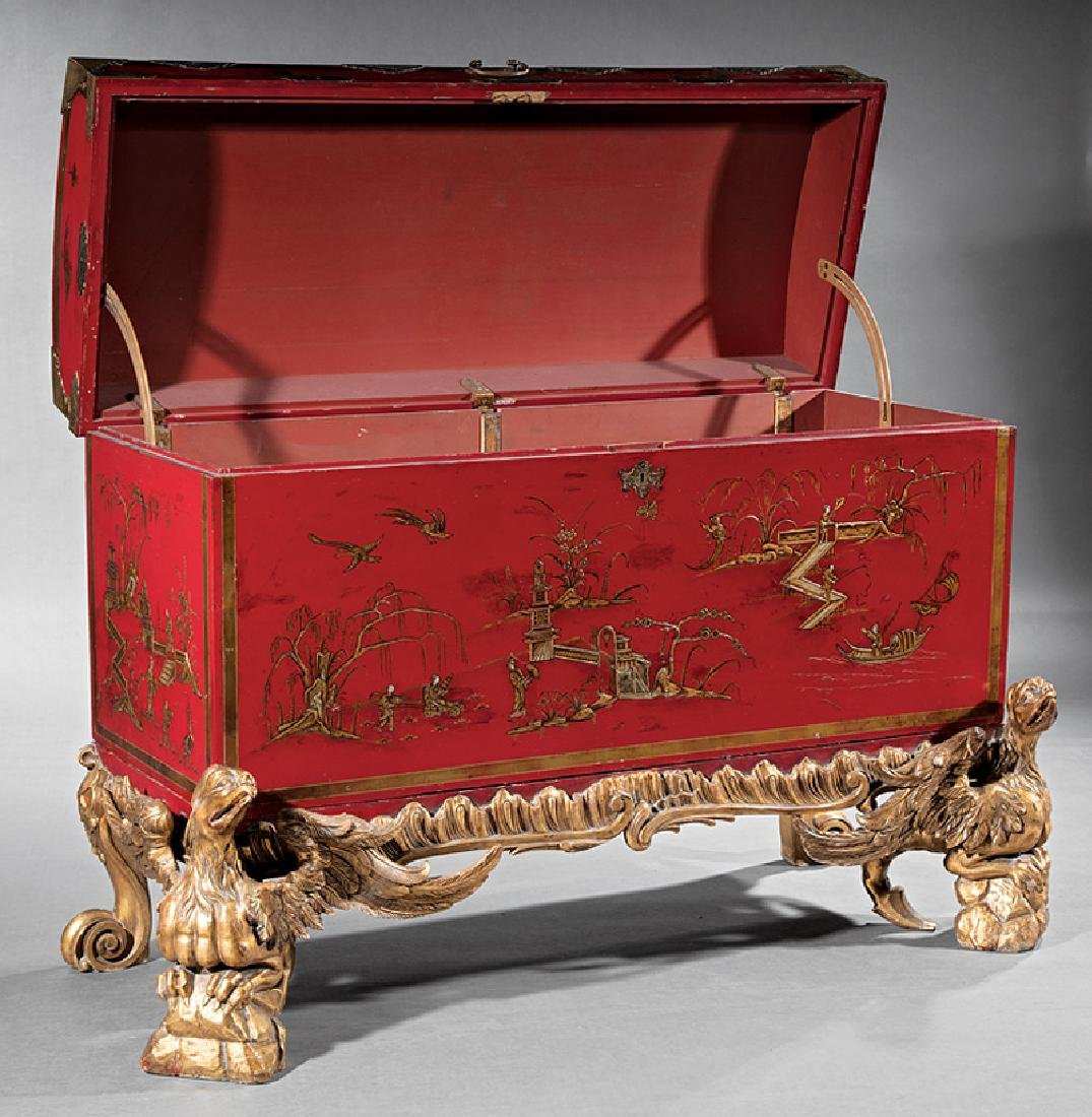 Chinoiserie-Decorated Red Lacquer Chest on Stand - 2