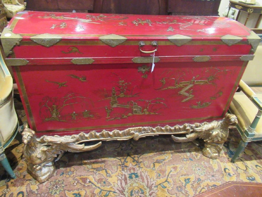 Chinoiserie-Decorated Red Lacquer Chest on Stand - 3
