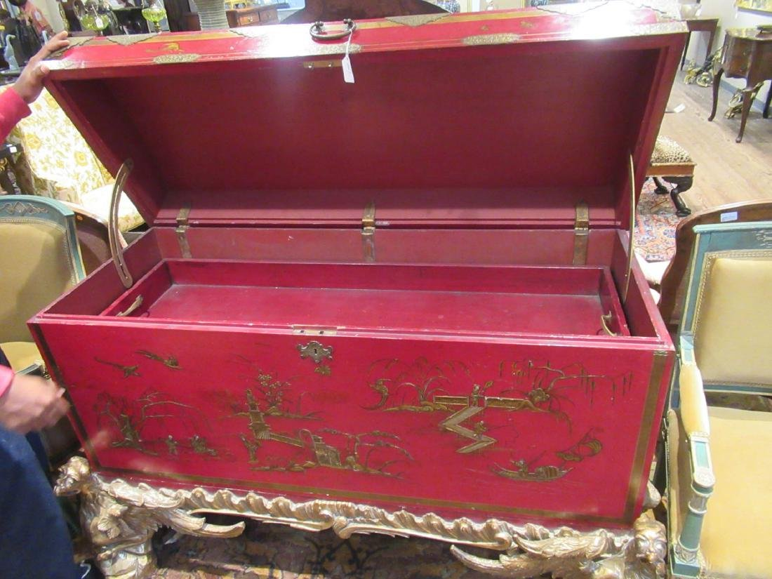 Chinoiserie-Decorated Red Lacquer Chest on Stand - 4