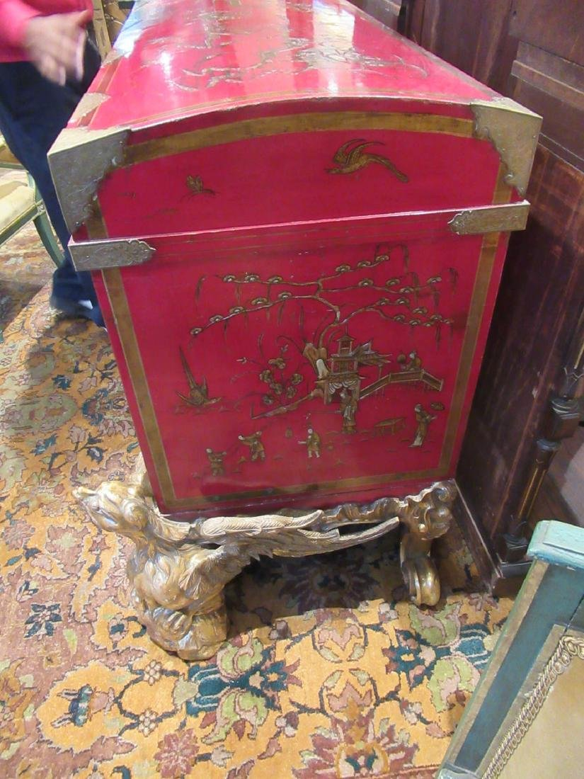 Chinoiserie-Decorated Red Lacquer Chest on Stand - 5