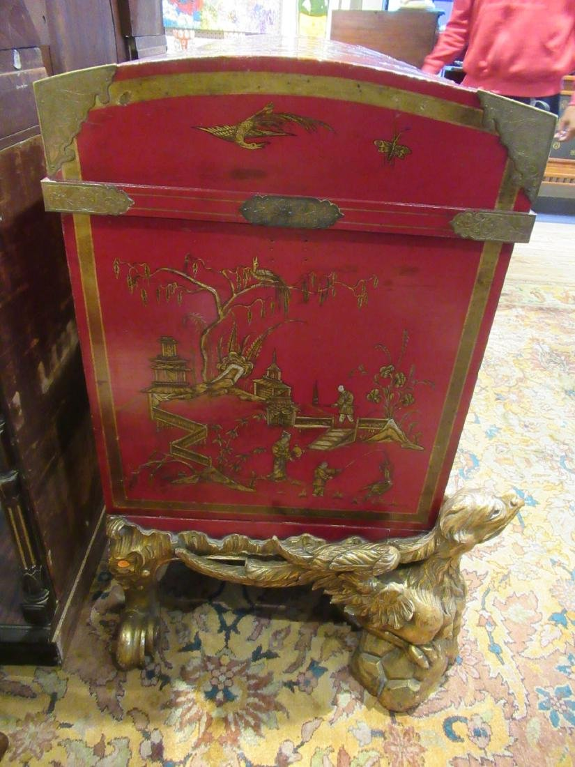 Chinoiserie-Decorated Red Lacquer Chest on Stand - 6