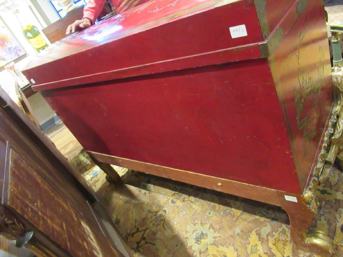 Chinoiserie-Decorated Red Lacquer Chest on Stand - 7