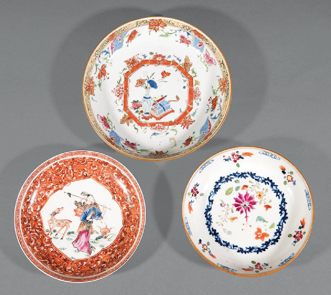 Three Chinese Famille Rose Porcelain Dishes
