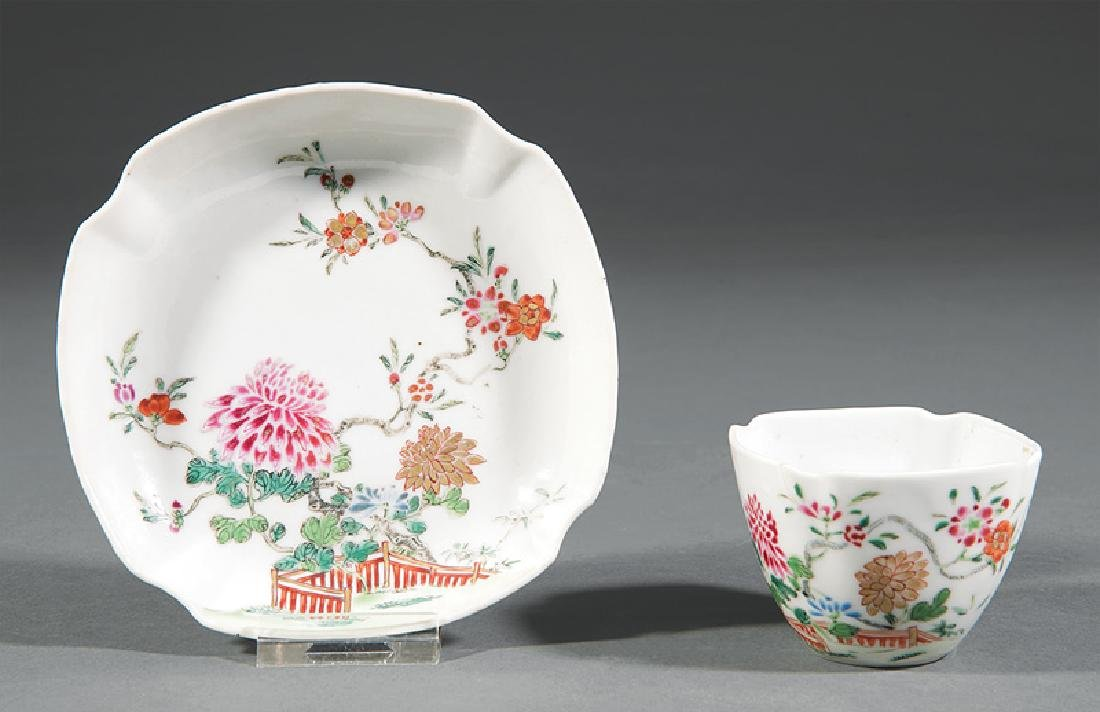 Chinese Famille Rose Porcelain Cup and Saucer
