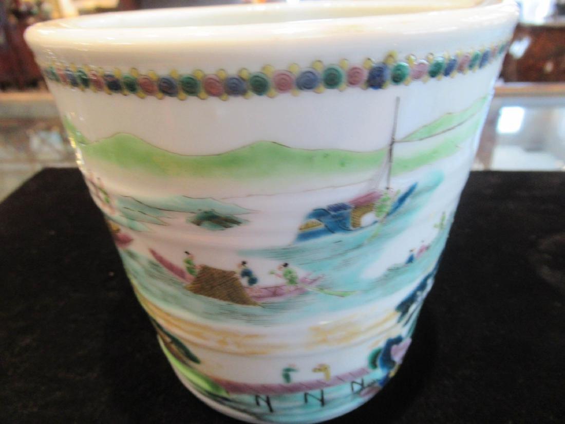 Chinese Famille Verte Porcelain Cachepot - 7