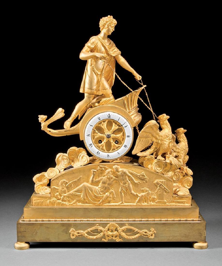 French Empire Gilt Bronze Figural Mantel Clock