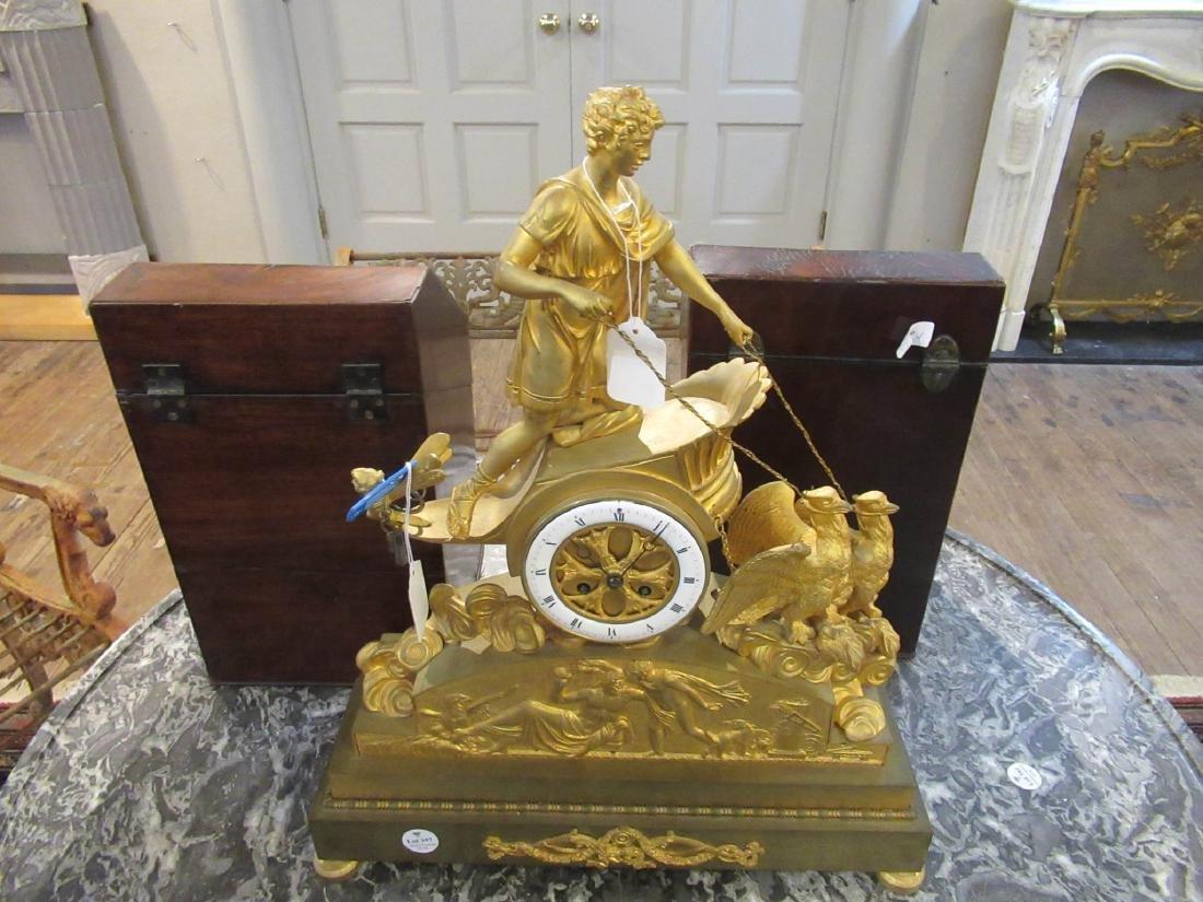 French Empire Gilt Bronze Figural Mantel Clock - 2