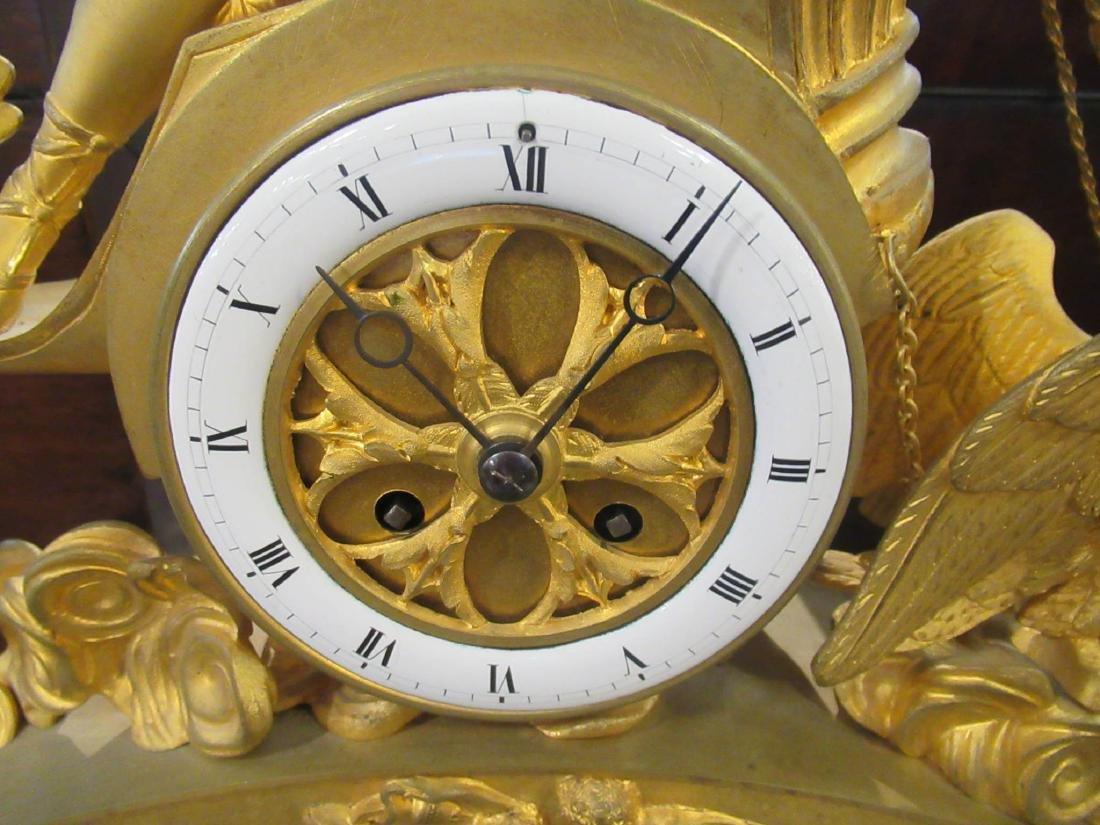 French Empire Gilt Bronze Figural Mantel Clock - 3