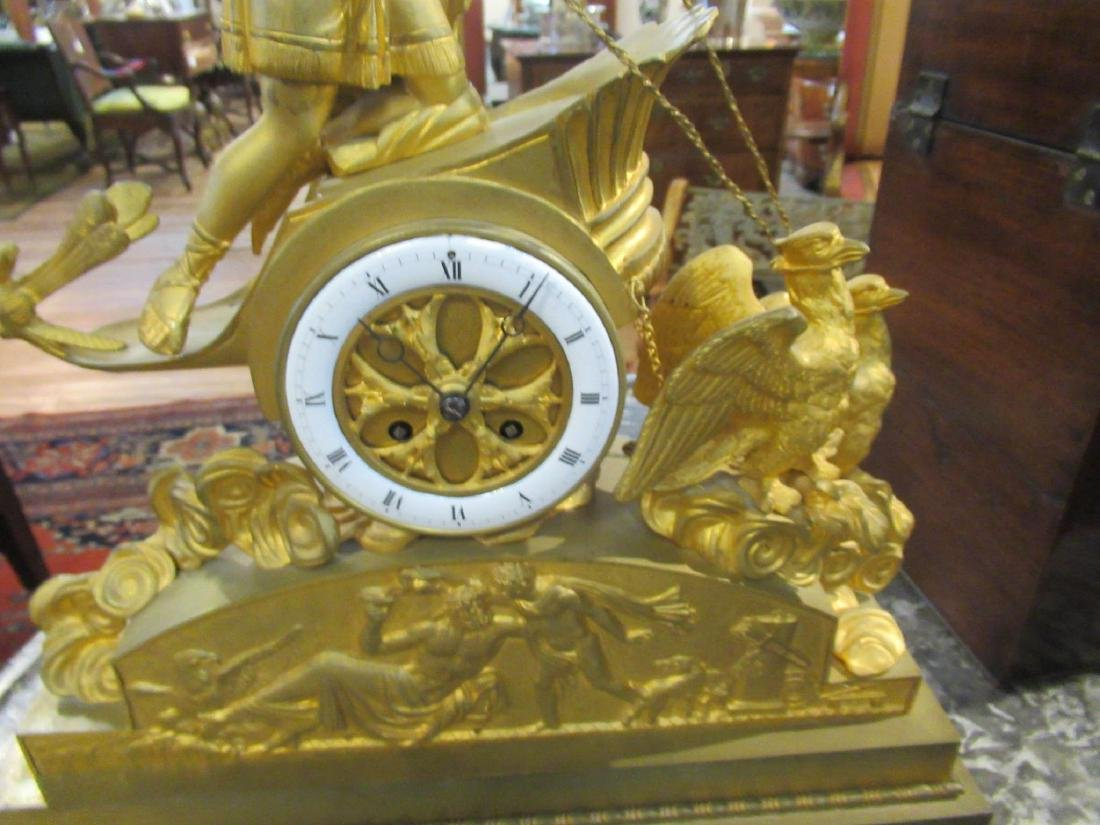 French Empire Gilt Bronze Figural Mantel Clock - 4