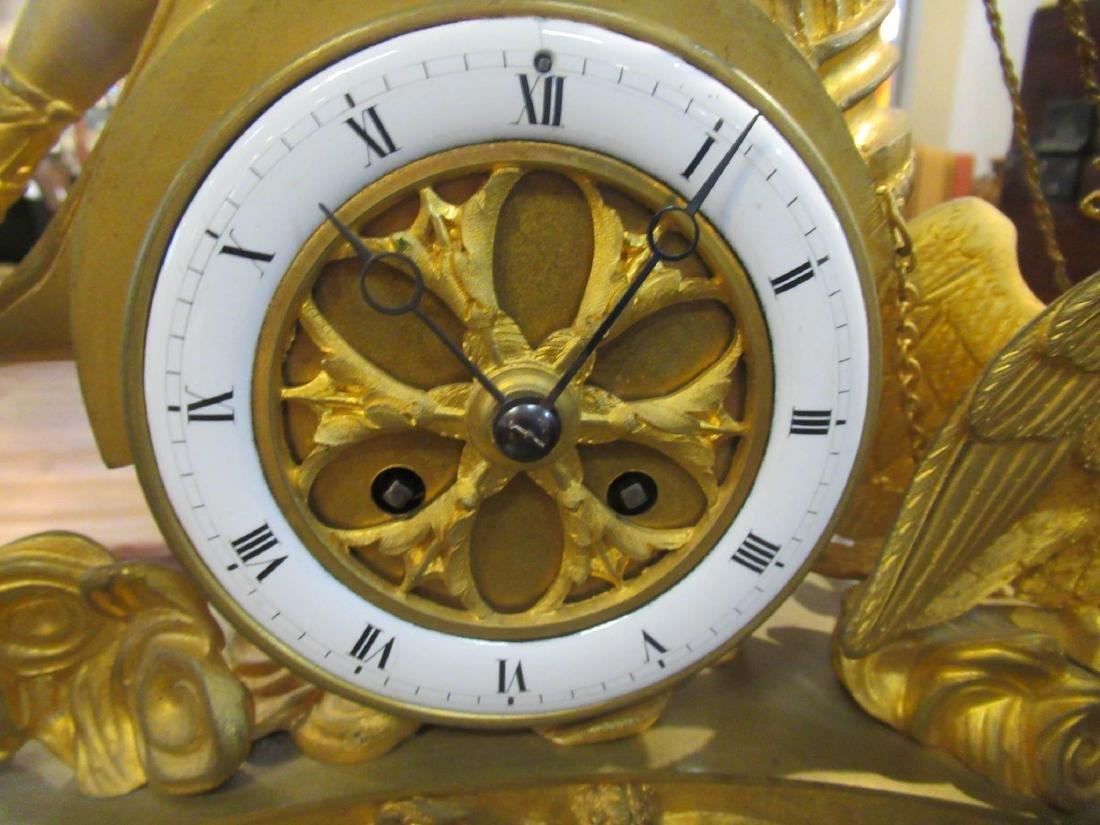 French Empire Gilt Bronze Figural Mantel Clock - 5