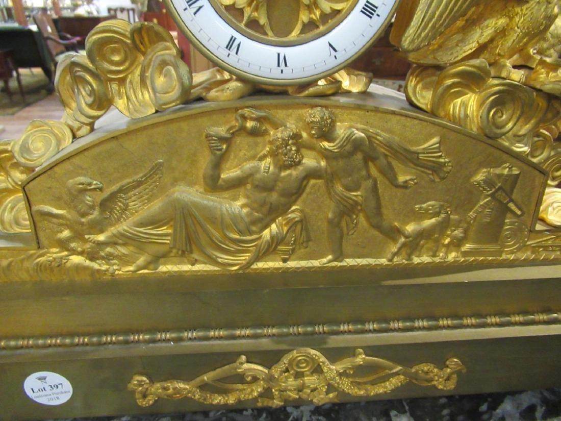 French Empire Gilt Bronze Figural Mantel Clock - 6