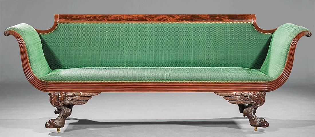 American Classical Carved Mahogany Sofa - 2