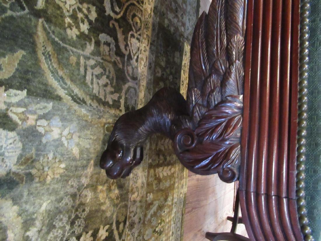 American Classical Carved Mahogany Sofa - 7