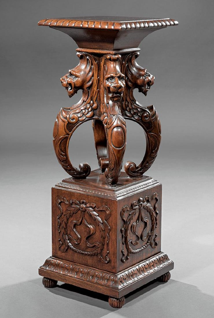 American Renaissance Carved Mahogany Pedestal