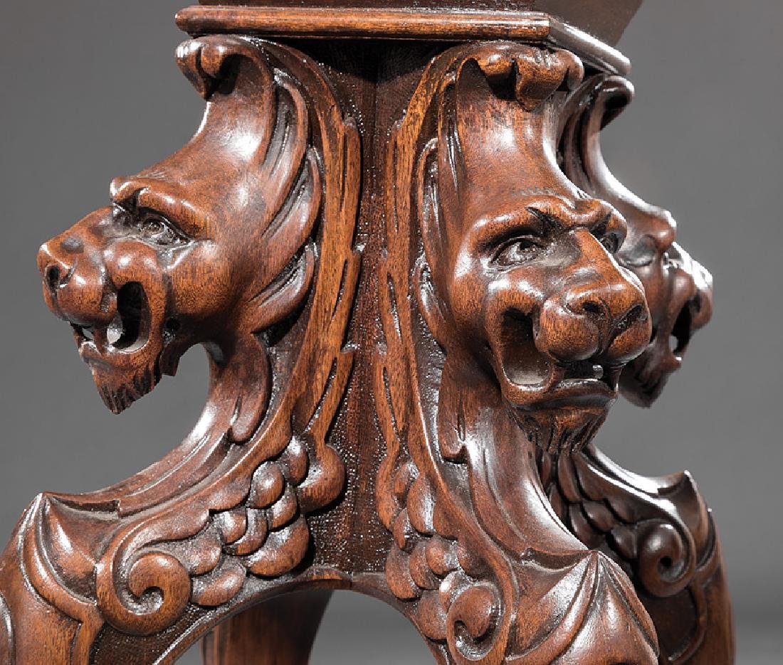 American Renaissance Carved Mahogany Pedestal - 3