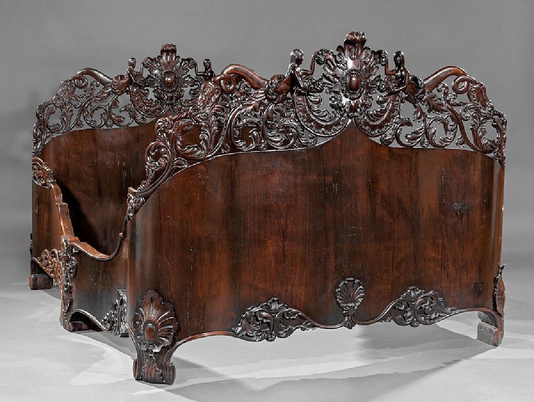 Carved and Laminated Rosewood Bedstead, Belter
