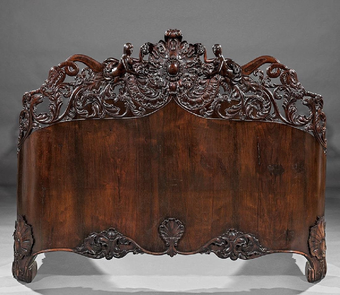 Carved and Laminated Rosewood Bedstead, Belter - 2