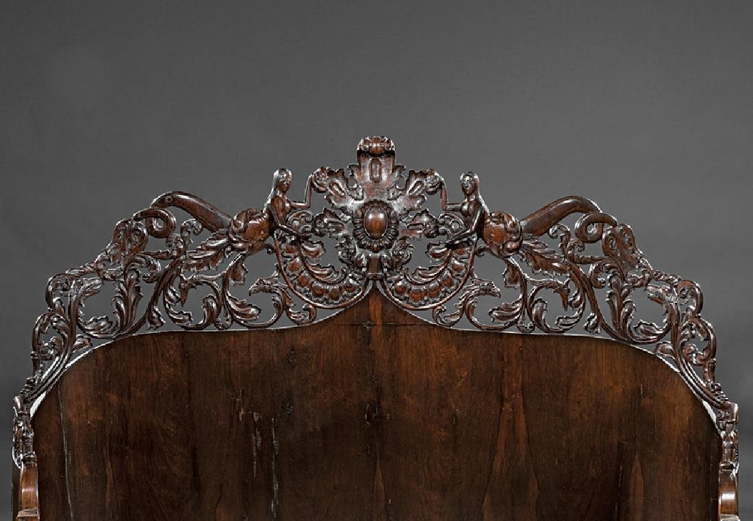 Carved and Laminated Rosewood Bedstead, Belter - 5