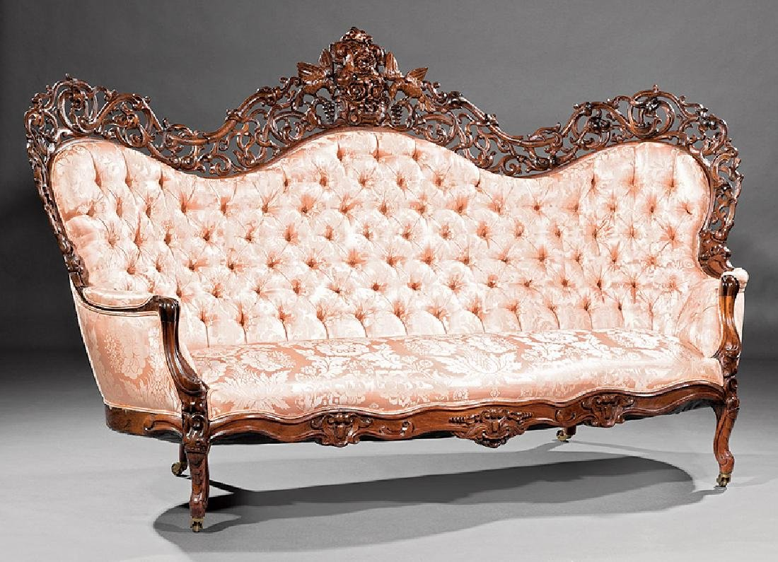 American Rococo Carved and Laminated Rosewood Sofa