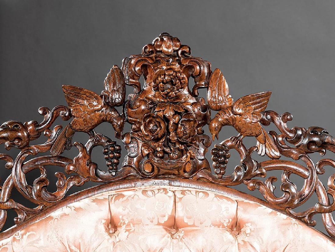 American Rococo Carved and Laminated Rosewood Sofa - 2