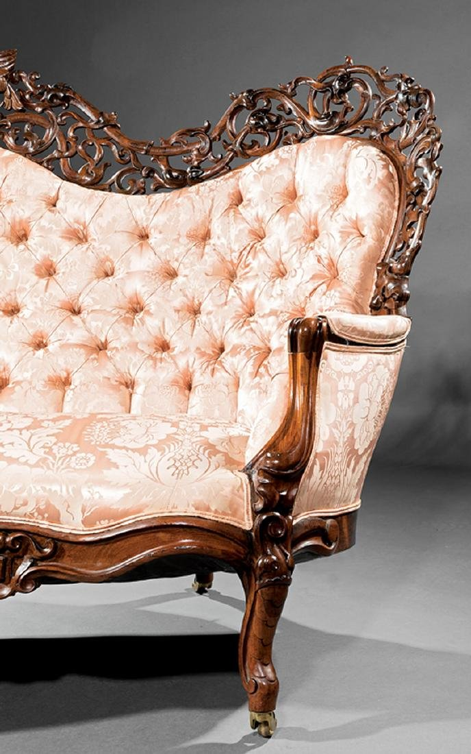 American Rococo Carved and Laminated Rosewood Sofa - 3
