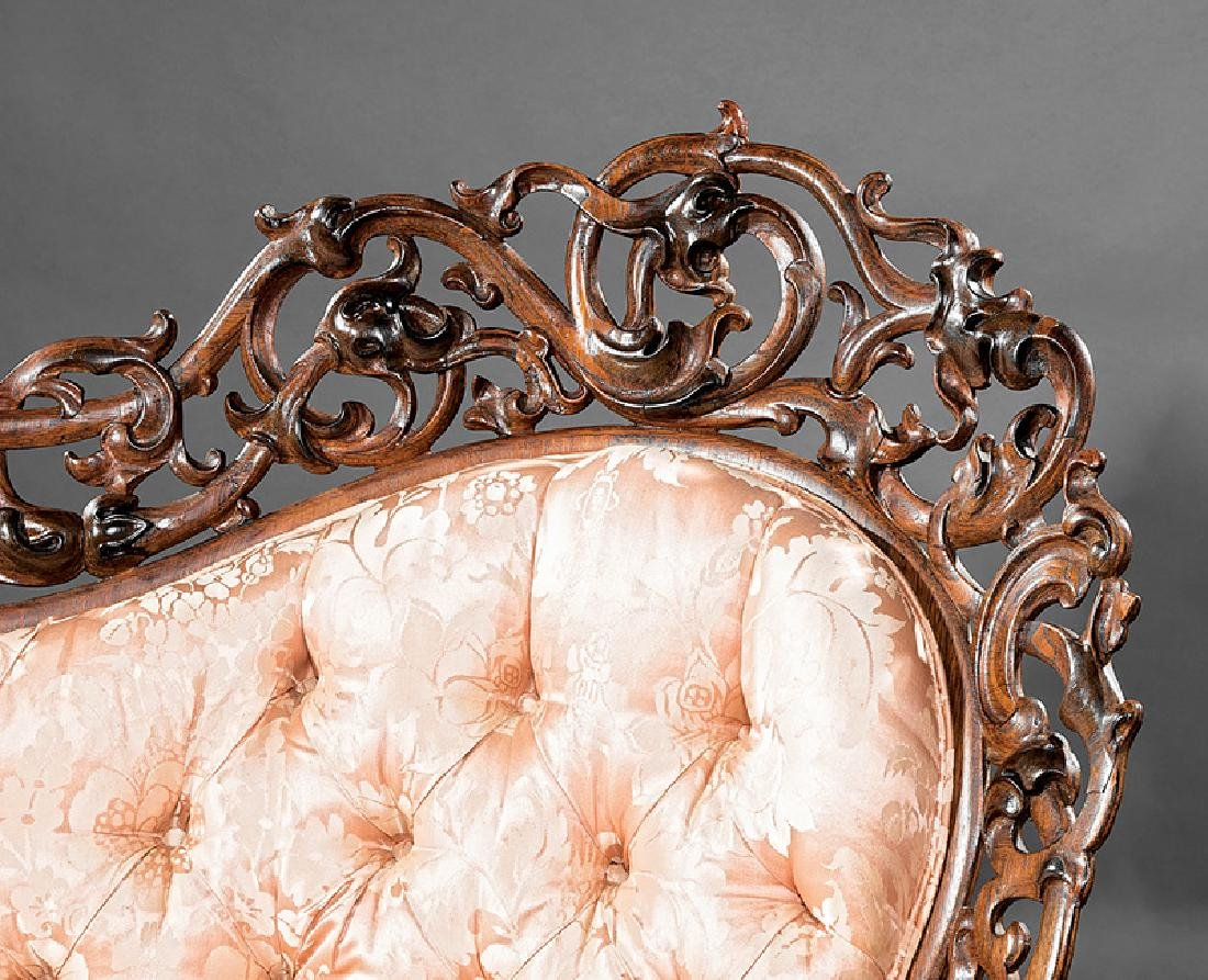 American Rococo Carved and Laminated Rosewood Sofa - 5