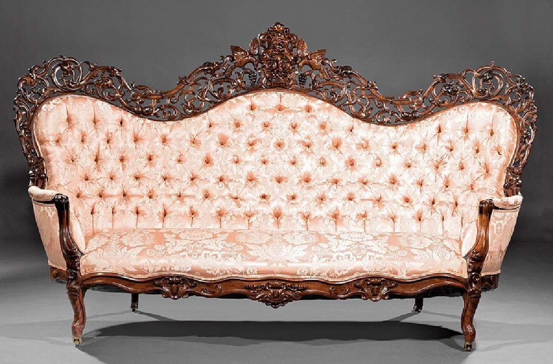 American Rococo Carved and Laminated Rosewood Sofa - 6