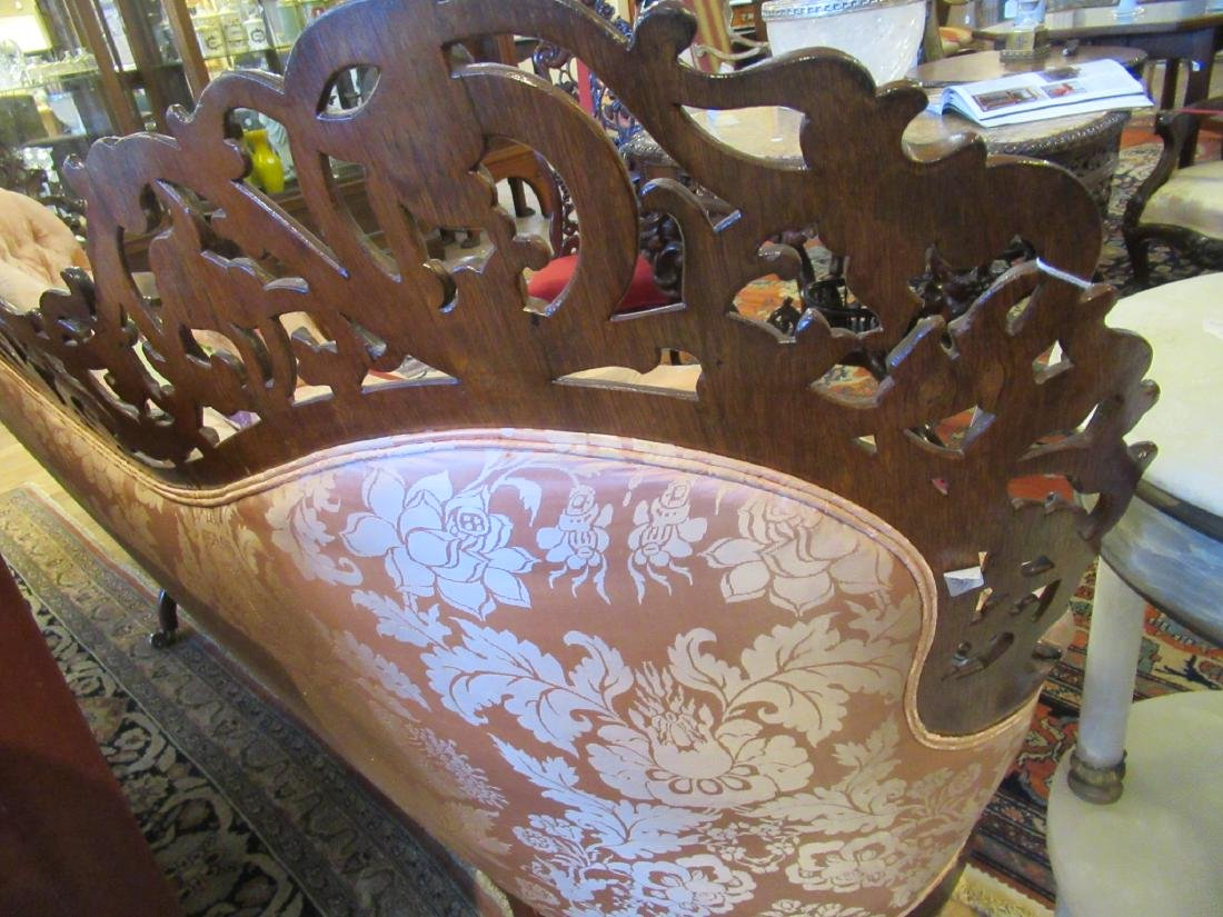 American Rococo Carved and Laminated Rosewood Sofa - 7