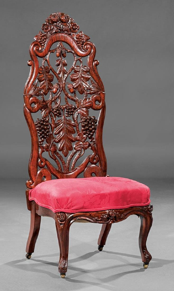 Carved and Laminated Rosewood Slipper Chair, Belter