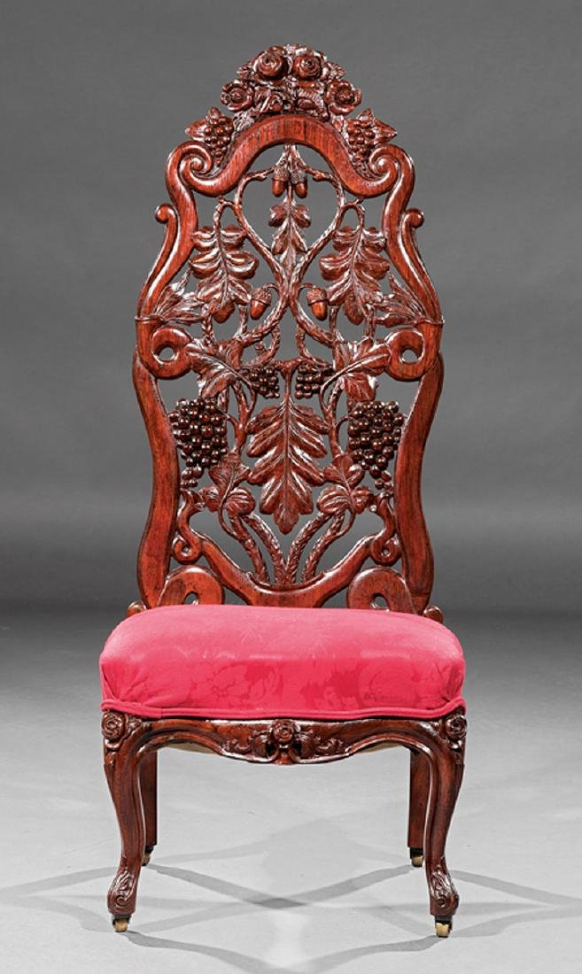 Carved and Laminated Rosewood Slipper Chair, Belter - 2