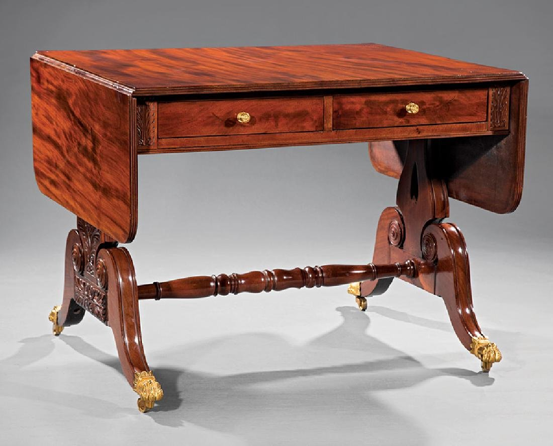 American Classical Carved Mahogany Sofa Table