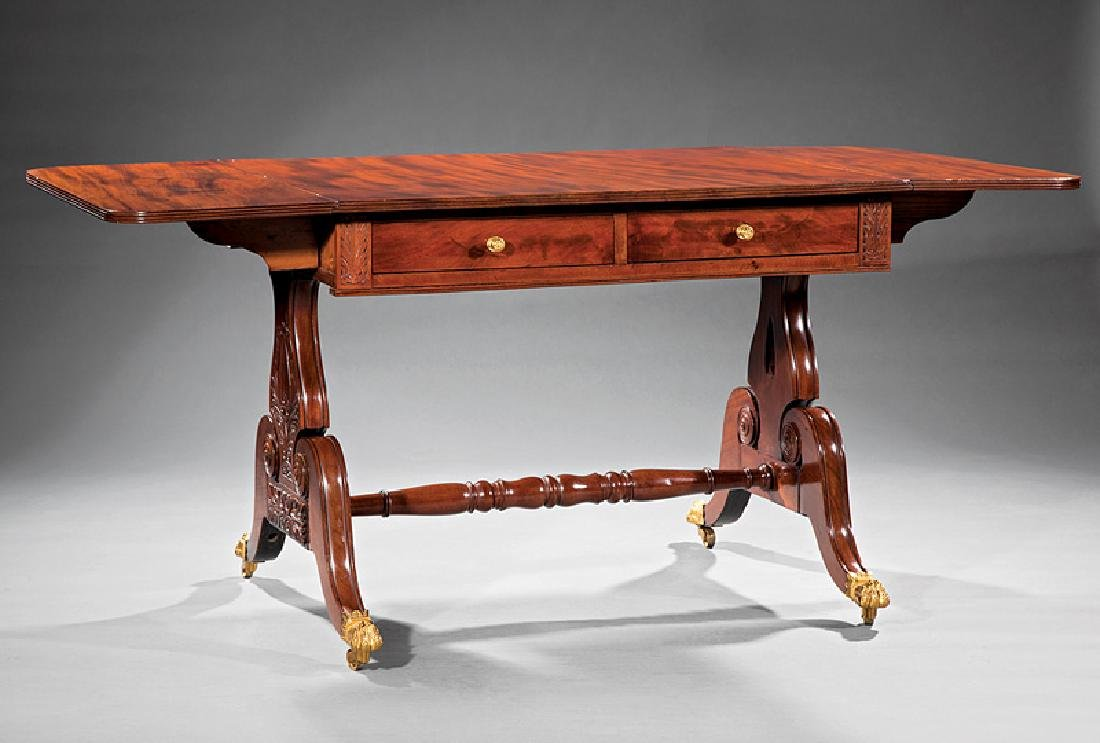 American Classical Carved Mahogany Sofa Table - 2