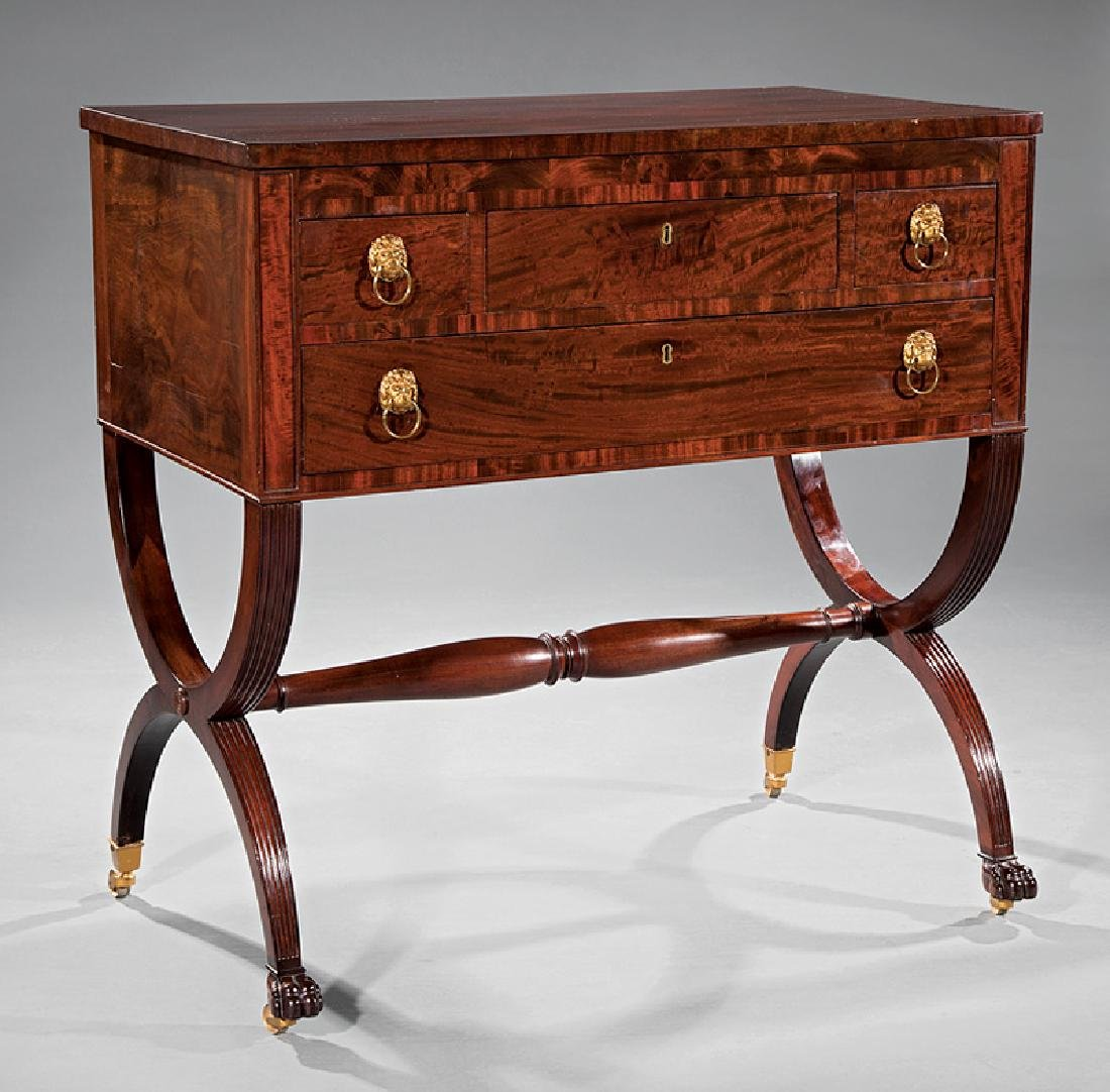 American Classical Carved Mahogany Chamber Table
