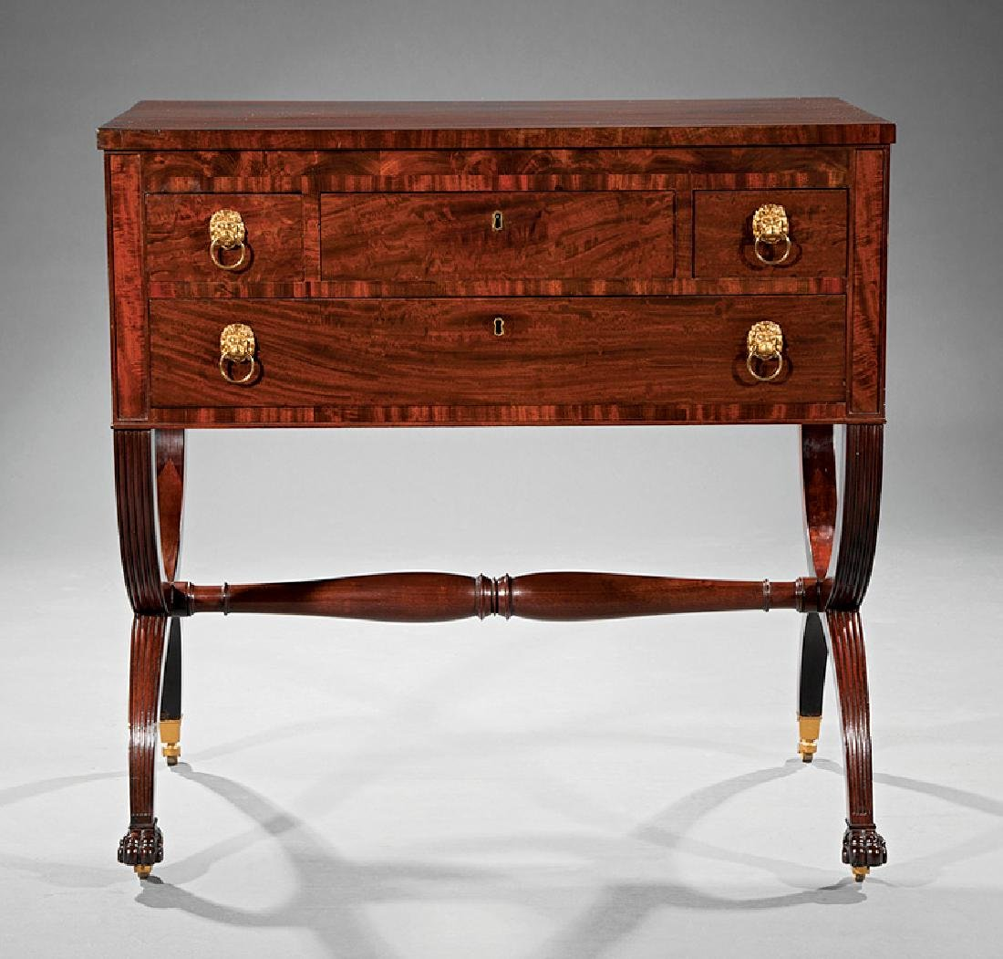 American Classical Carved Mahogany Chamber Table - 2