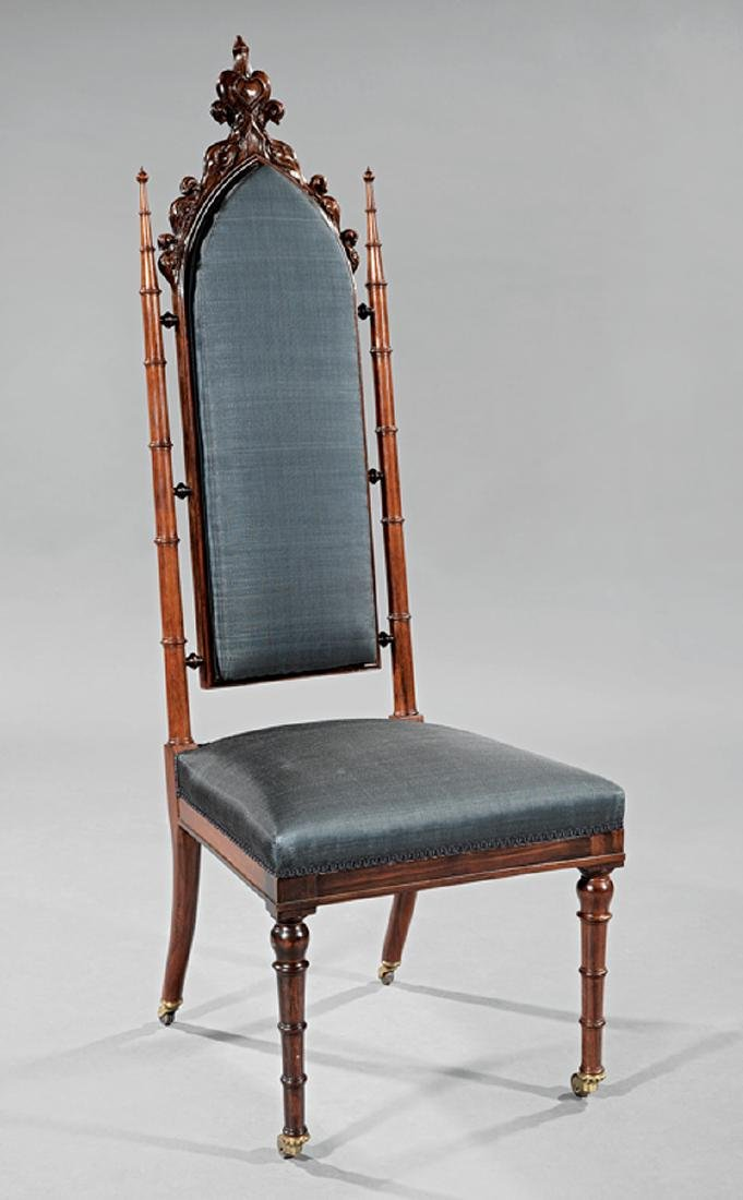 Gothic Carved Rosewood Side Chair, probably Roux
