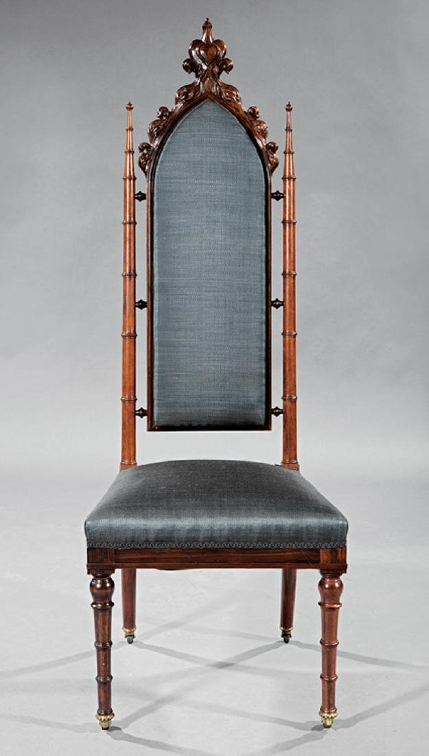 Gothic Carved Rosewood Side Chair, probably Roux - 2