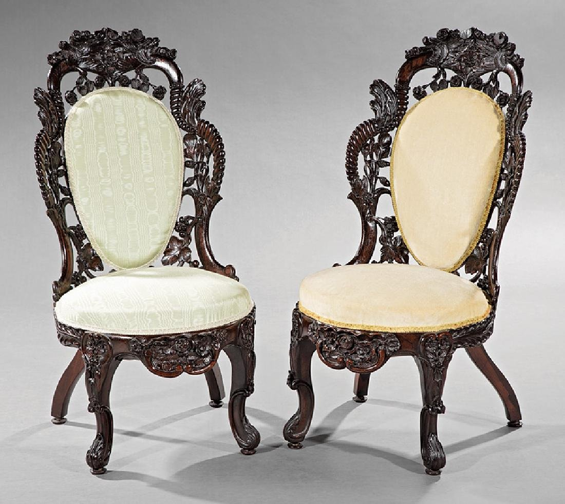 Carved and Laminated Rosewood Side Chairs, Belter