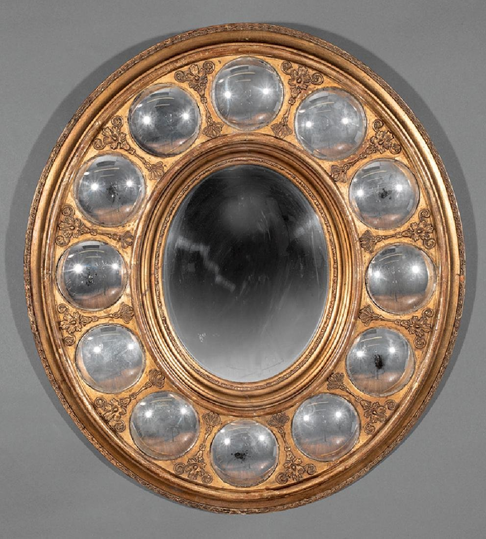 Charles X Carved Giltwood Convex Mirror