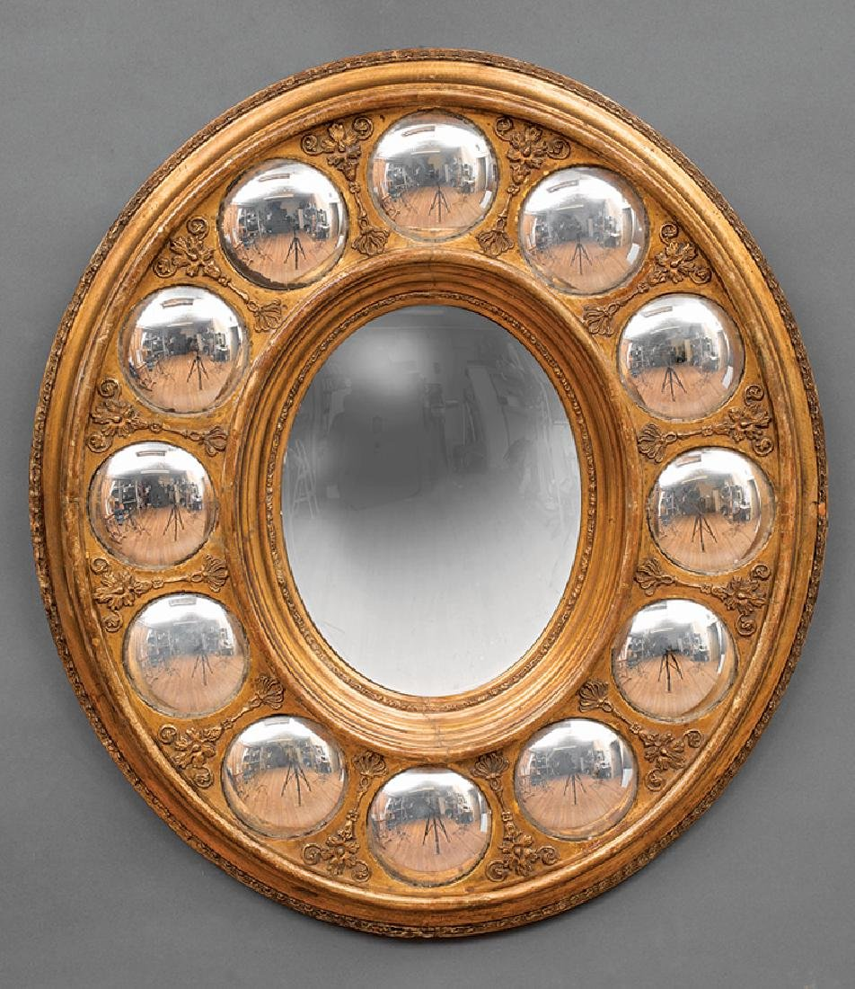 Charles X Carved Giltwood Convex Mirror - 2