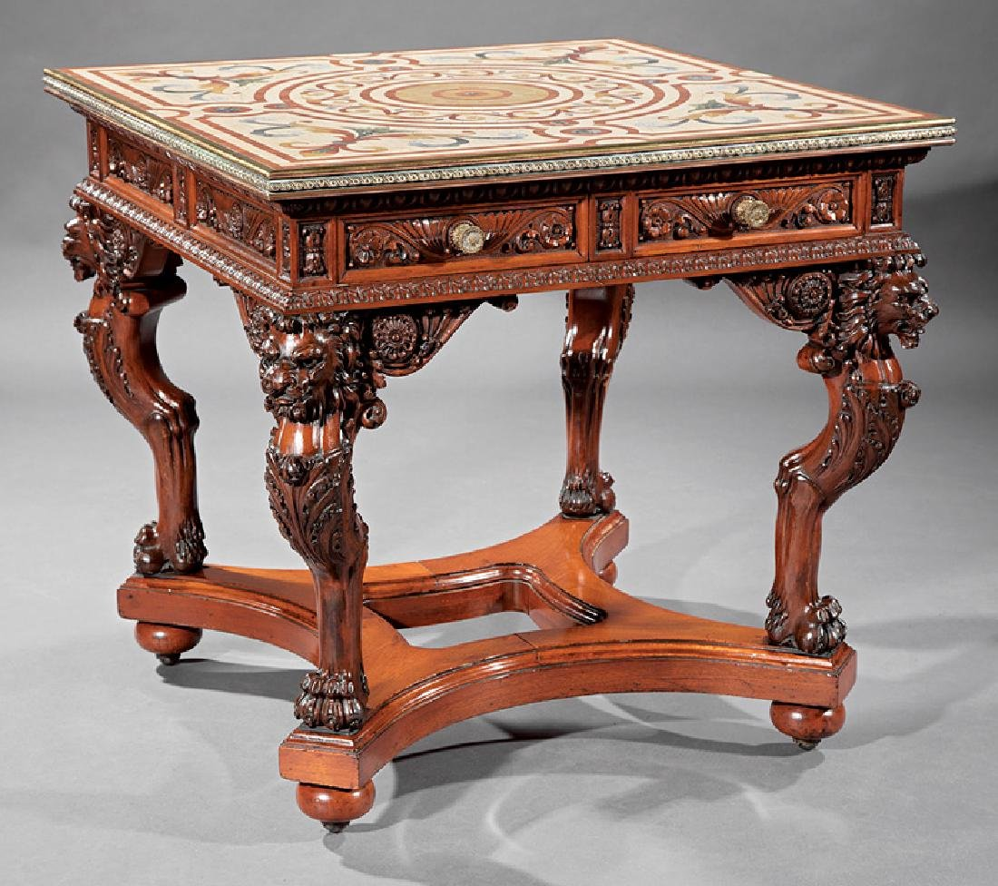 American Renaissance Carved Mahogany and Mosaic Table