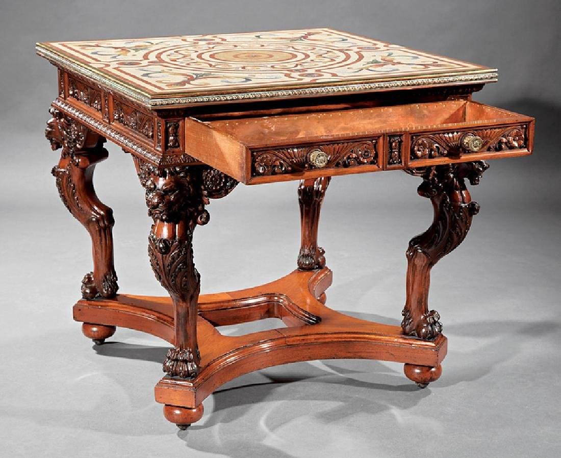 American Renaissance Carved Mahogany and Mosaic Table - 2