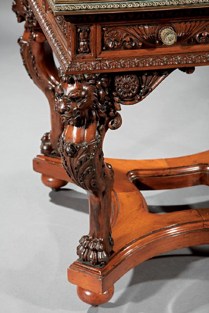 American Renaissance Carved Mahogany and Mosaic Table - 3