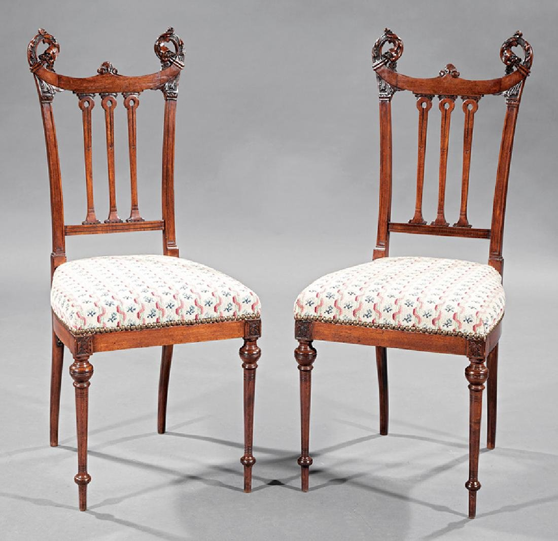 Carved Mahogany Side Chairs, attr. Herter Brothers