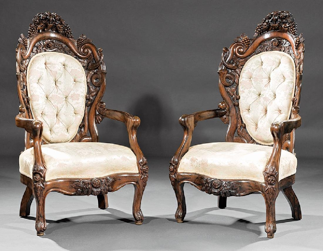 Carved and Laminated Rosewood Armchairs, Belter