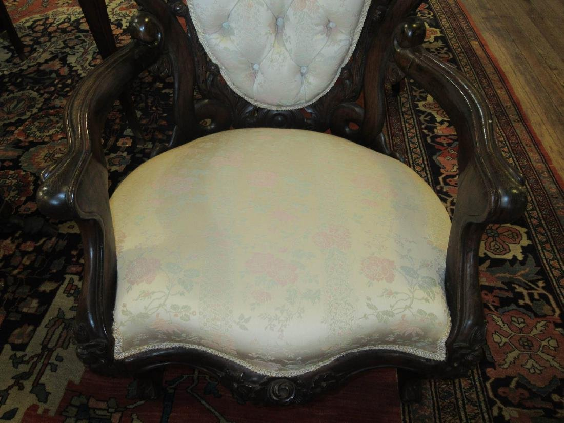 Carved and Laminated Rosewood Armchairs, Belter - 6
