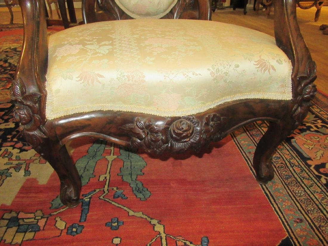 Carved and Laminated Rosewood Armchairs, Belter - 7