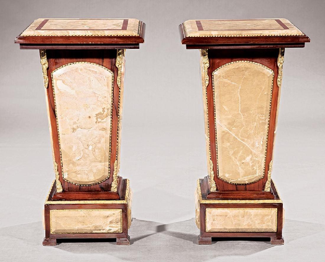 Bronze-Mounted Marble and Mahogany Pedestals