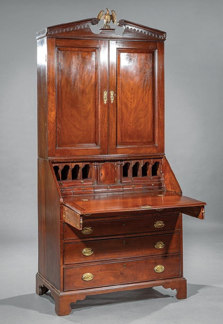 George III-Style Carved Mahogany Secretary Bookcase